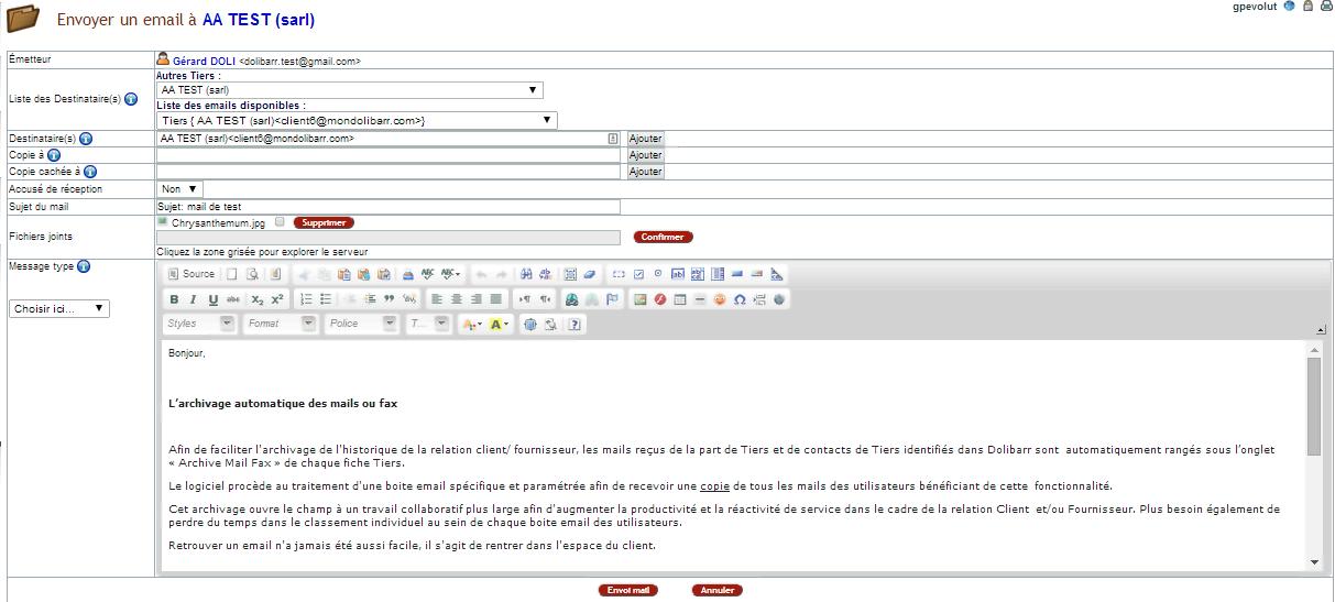 Archivage automatique des mails entrants et sortants dans ERP Dolibarr